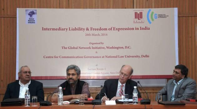 (L-R: Professor Ranbir Singh, Mr. Siddharth Varadarajan, Mr. Jermyn Brooks, Mr. Shyam Divan)