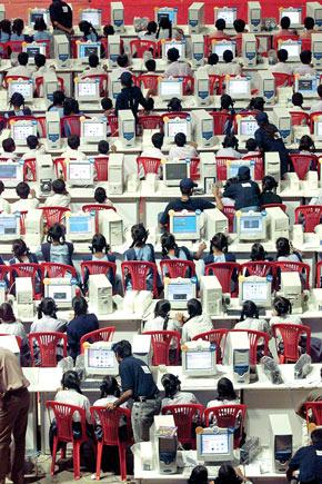 Students access the internet at an event in Bengaluru, in 2003. Contrary to popular belief, the internet is one of the world's most heavily policed public resources.